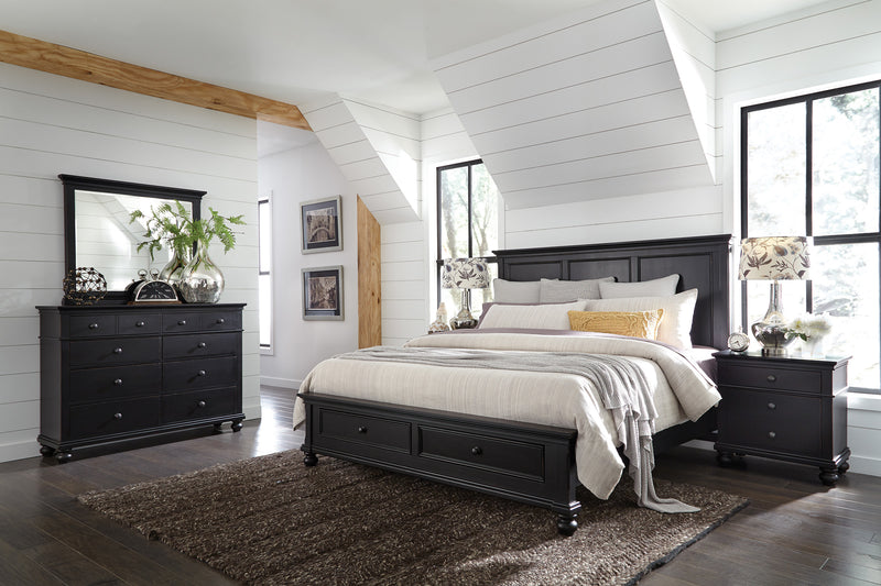 Black Oxford Panel Bed