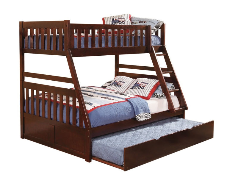 Homelegance Rowe Twin/Full Bunk Bed w/ Trundle in Dark Cherry B2013TFDC-1*T