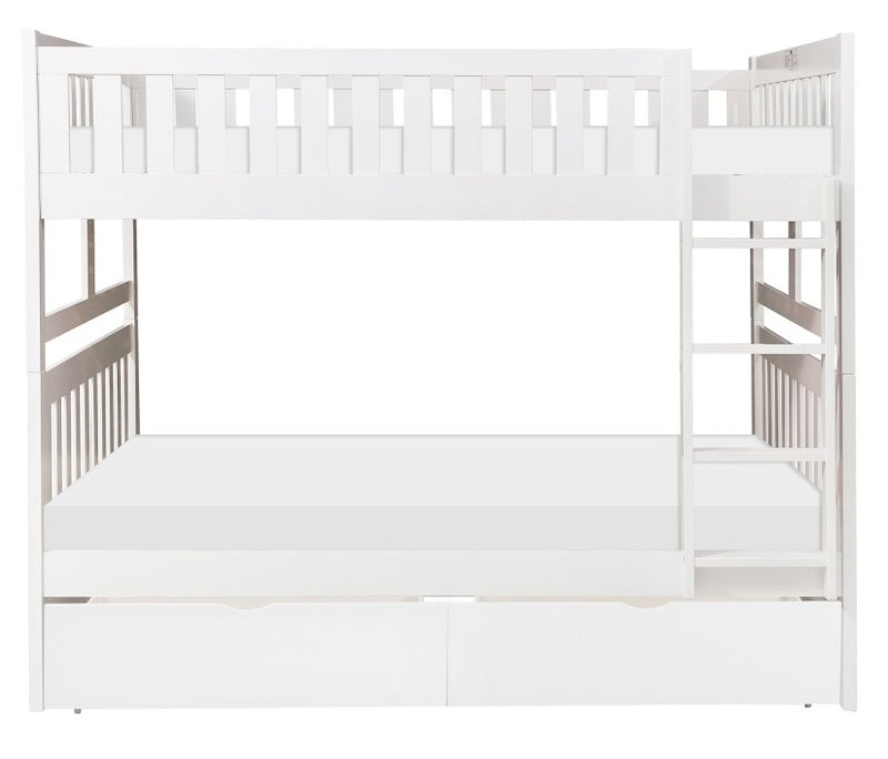 Homelegance Galen Full/Full Bunk Bed w/ Storage Boxes in White B2053FFW-1*T image