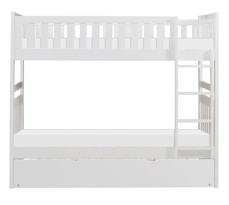 Homelegance Galen Twin/Twin Bunk Bed w/ Twin Trundle in White B2053W-1*R