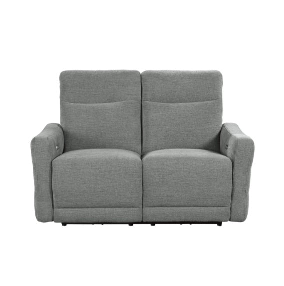 Homelegance Furniture Edition Power Double Lay Flat Reclining Loveseat in Dove Grey 9804DV-2PWH