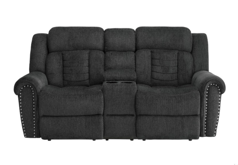 Homelegance Furniture Nutmeg Double Reclining Loveseat in Charcoal Gray 9901CC-2 image