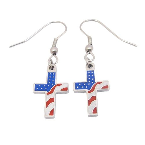 American Flag Cross </br> Christian Earrings
