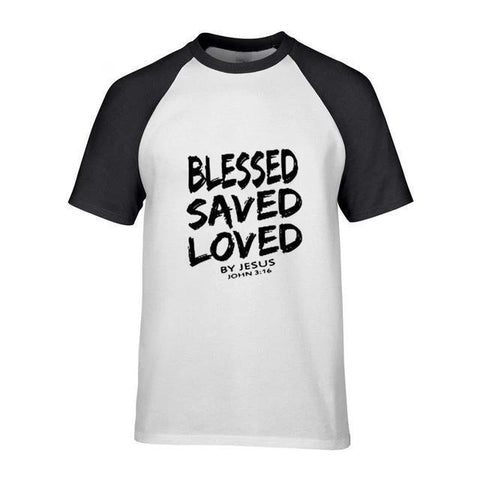 Blessed Saved Loved </br> Christian T-Shirt