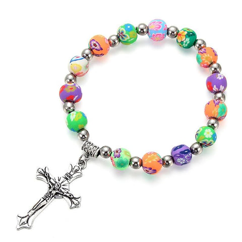 Colorized Soft Pottery Beads </br>Rosary Bracelet
