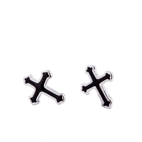 Cross Black Glaze Stud </br> Christian Earrings