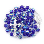 Dark Blue Glass Crystal Beaded </br> Rosary Necklace