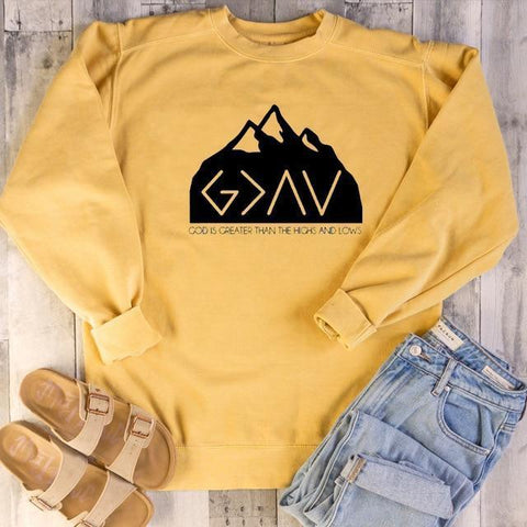 God Is Greater Than The Highs And Lows</br> Christian Sweatshirt