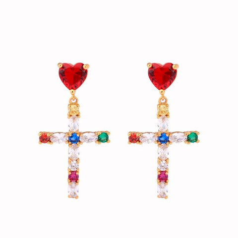 Red Heart Dangle </br> Christian Earrings