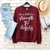 She is Clothed in Strength and Dignity </br> Christian Sweatshirt
