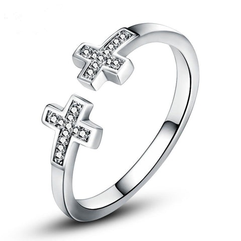 Silver Double Cross </br> Christian Rings