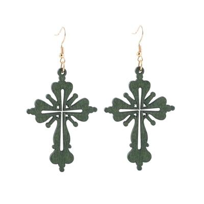 Wooden Cross </br> Christian Earrings