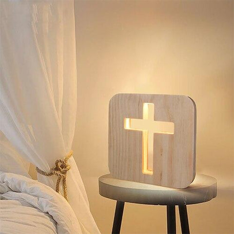 Wooden Cross Shadow LED Lamp