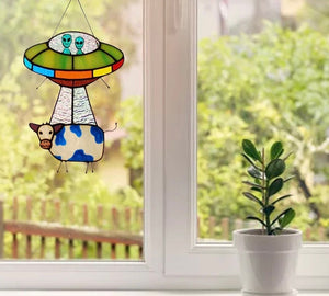 Alien and cow dyed sunbathing window decoration, painted UFO pendant - ZZSales
