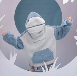BABY SHARK EMBROIDERY ZIPPER LETTER PLUSH HOODIE - ZZSales