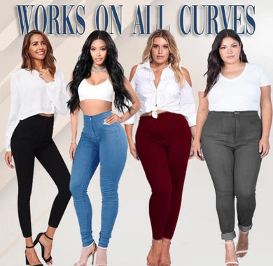High Waist Plus-Size Denim Jeans - ZZSales