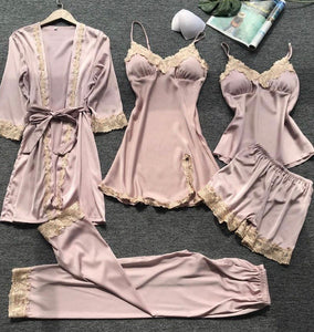SATIN LACE TRIM 5PCS SLEEPWEAR SETS - zzsales
