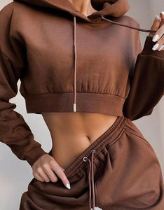 Solid Hooded Drawstring Top & Pants Set - zzsales