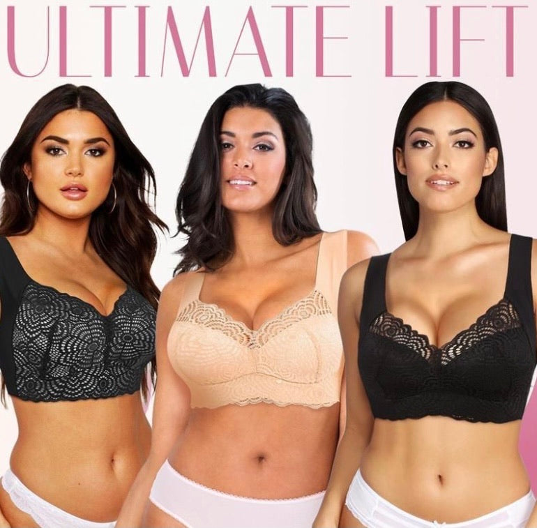 EXTRA LIFT – Ultimate Lift Stretch Full-Figure Seamless Lace Cut-Out Bra - ZZSales