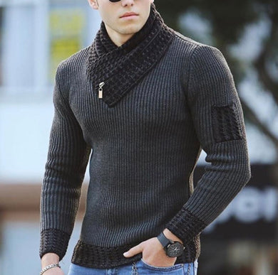 Men's fashionable pure color V-neck knit sweater - ZZSales