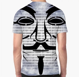 Men's Cyber Language Creative Art Print Crew Neck T-Shirt - ZZSales