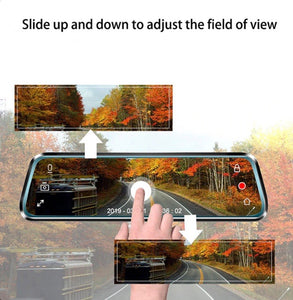 "4K Mirror Dash Cam 9"" Touch Screen Front And Rear Dual Dash Camera"