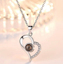 Load image into Gallery viewer, Personalized Heart Photo Projection Necklace With I Love You In 100 Languages - ZZSales