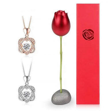 HEART NECKLACE SET WITH ROSE - ZZSales