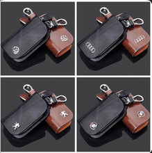 Load image into Gallery viewer, Car Logo Leather Wood Texture Car Key Case - zzsales
