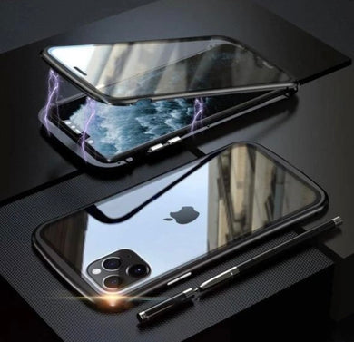 Magnetic Adsorption Front and Back Tempered Glass Phone Case for iPhone 12 - ZZSales