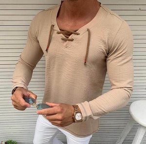 Casual Pure Colour Tether V Neck T-Shirt - zzsales