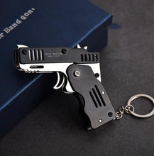 Load image into Gallery viewer, All Metal Mini Folding Rubber Band Gun Outdoor Military Sport Toy Keychain - ZZSales