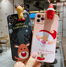 Load image into Gallery viewer, Cute 3D Cartoon Christmas Santa Reindeer Tree Phone Case For iPhone - ZZSales