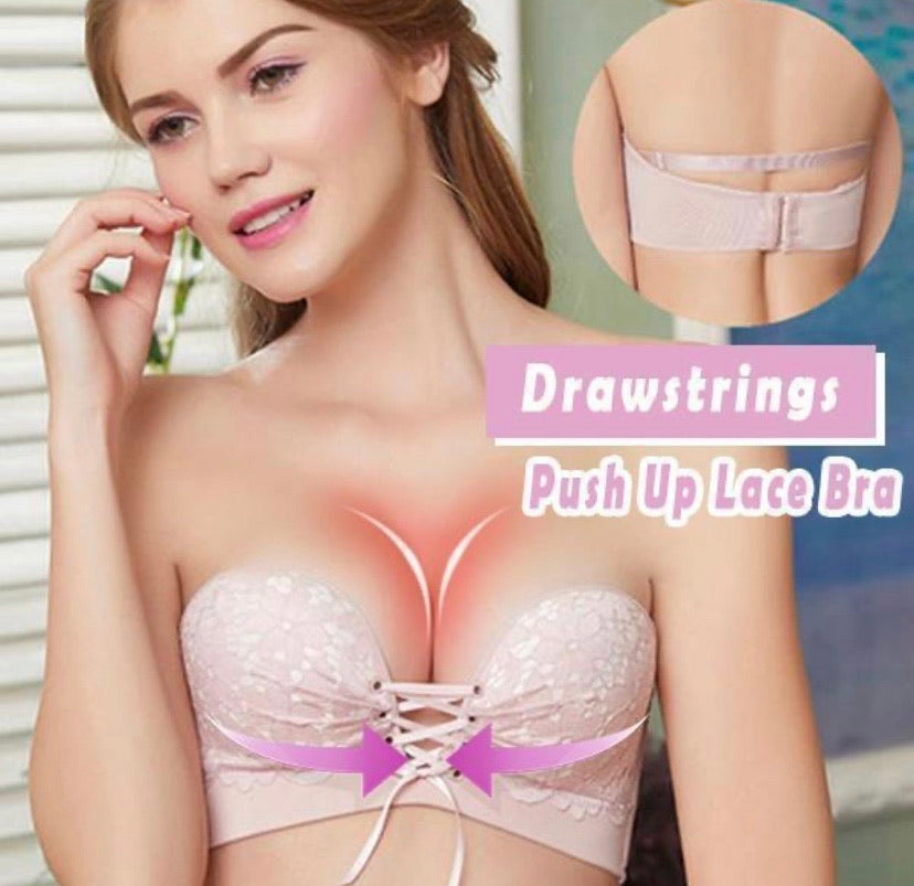 Drawstrings Push Up Sexy Lace Bra - zzsales