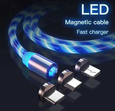 Glowing LED Magnetic 3 in 1 USB Charging Cable - ZZSales
