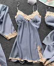 Load image into Gallery viewer, SATIN LACE TRIM 5PCS SLEEPWEAR SETS - zzsales