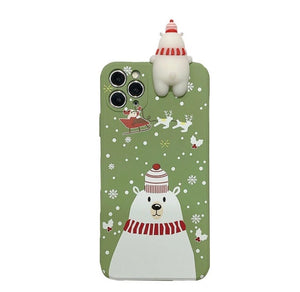 Cute 3D Cartoon Christmas Santa Reindeer Tree Phone Case For iPhone - ZZSales