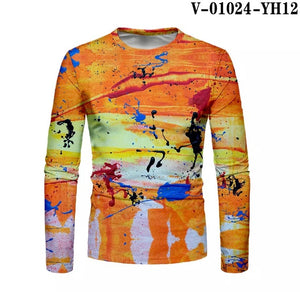 Men's Contrast Painting Print Long Sleeve T-shirt - ZZSales