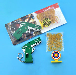 All Metal Mini Folding Rubber Band Gun Outdoor Military Sport Toy Keychain - ZZSales