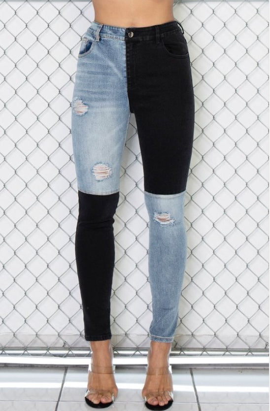 Color Block Skinny Jeans