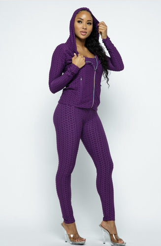 3 Piece Textured Tracksuit