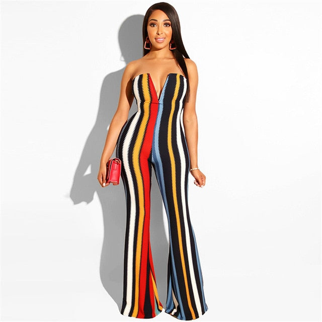 Sexy Striped Business Long Playsuit