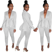 Load image into Gallery viewer, V Neck Sexy Ruffle Blouse  Pants Set
