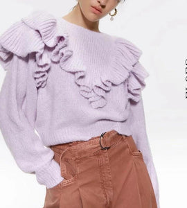 Vintage Ruffles Short Knitted Sweater