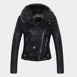 Winter Warm Faux Leather Jackets with Fur Collar