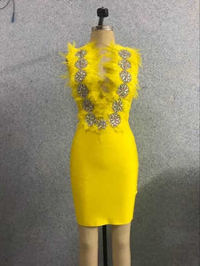 Yellow deep V-neck feather Cocktail dress