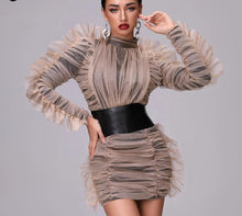 Load image into Gallery viewer, High Collar Belted Mesh Dress