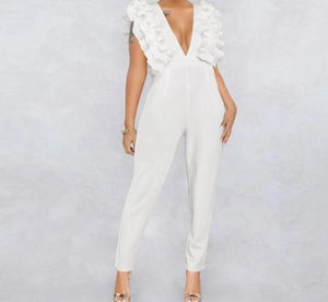 Ruffle Backless V Neck Jumpsuit