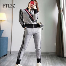 Load image into Gallery viewer, Woman Tracksuits New Autumn Winter Zipper Knitted Jacket Coat + Slim Pants Suits Women Two Piece Set Sportsuits Sweater Clothes
