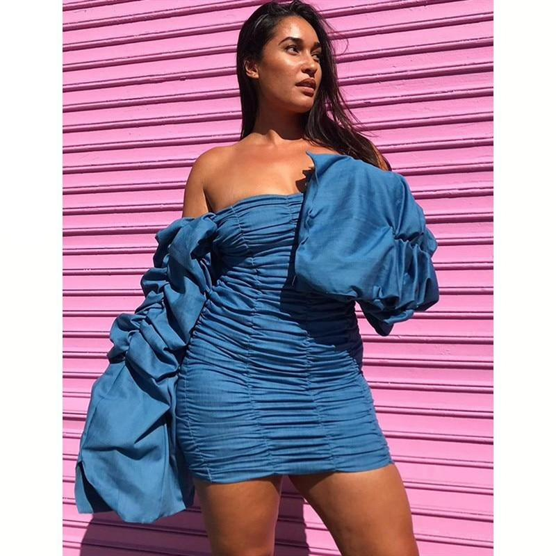 Off Shoulder Pleated  Bodycon Dress